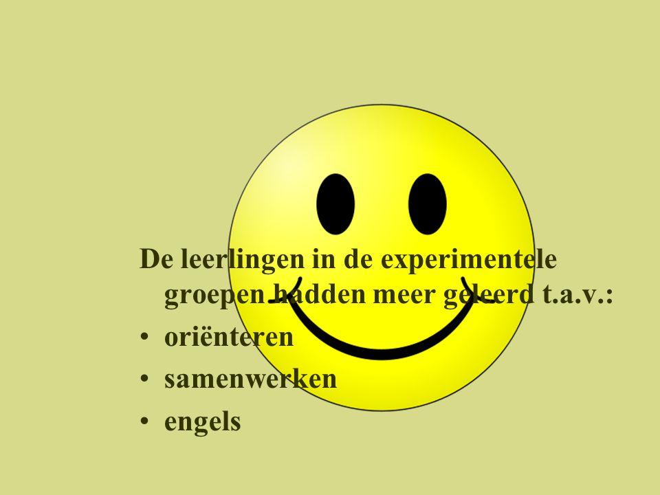 De leerlingen in de experimentele groepen hadden meer geleerd t.a.v.:
