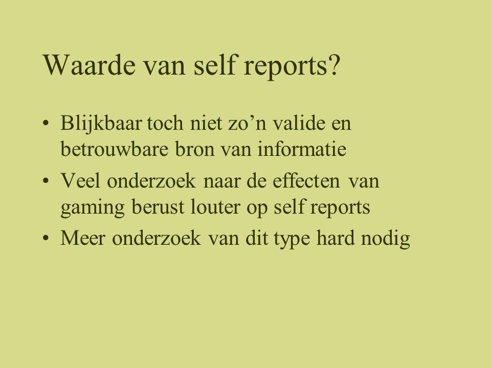 Waarde van self reports
