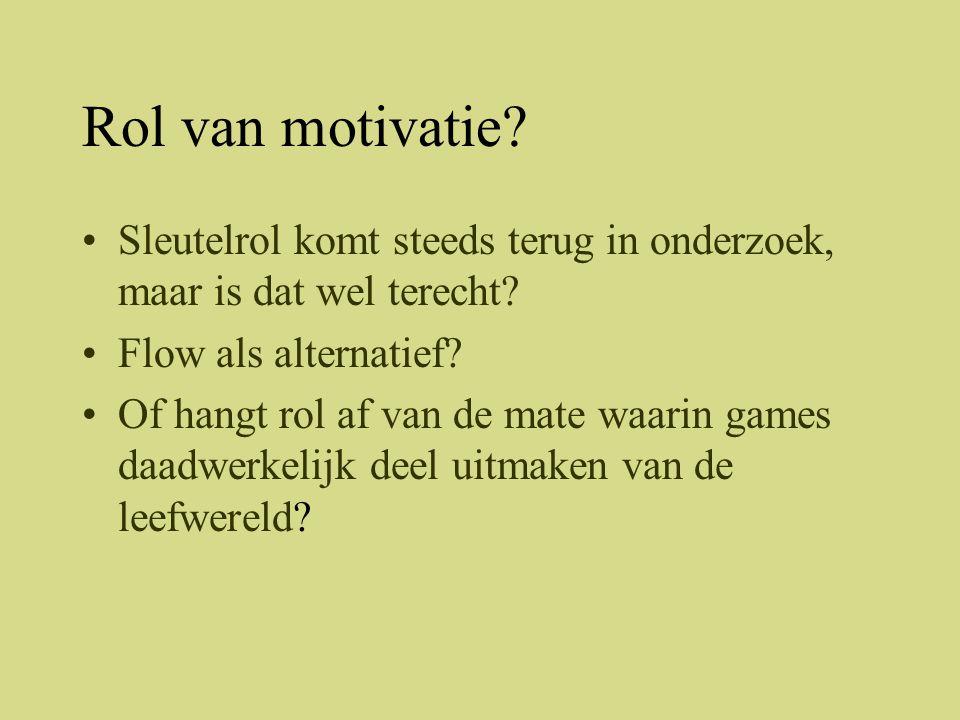 Rol van motivatie Sleutelrol komt steeds terug in onderzoek, maar is dat wel terecht Flow als alternatief