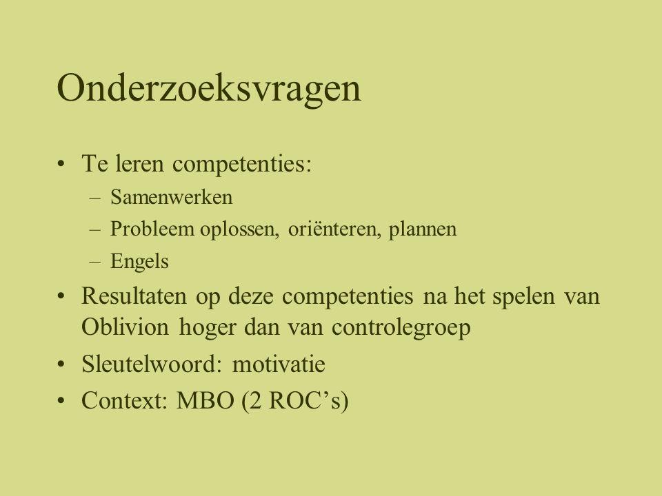 Onderzoeksvragen Te leren competenties: