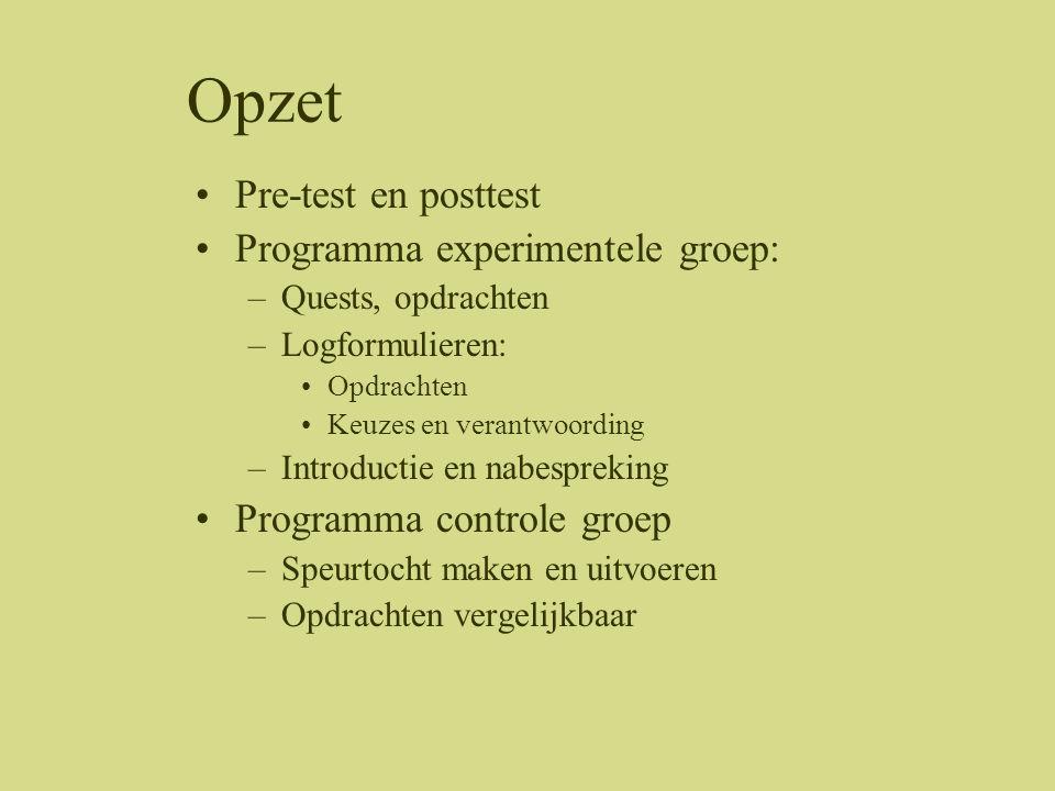 Opzet Pre-test en posttest Programma experimentele groep: