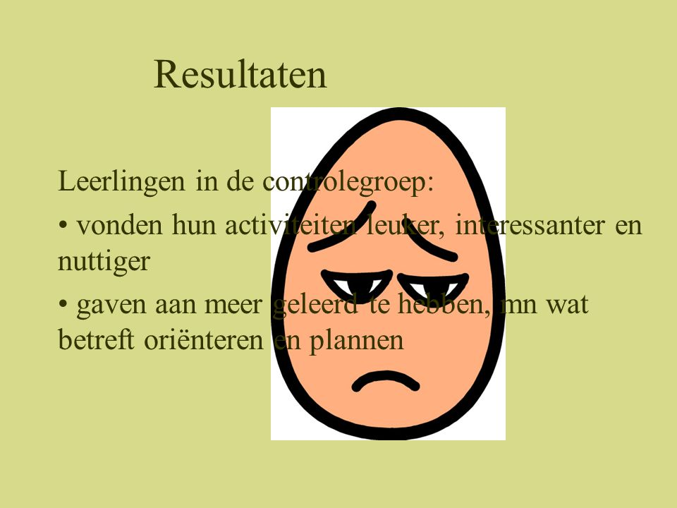 Resultaten Leerlingen in de controlegroep: