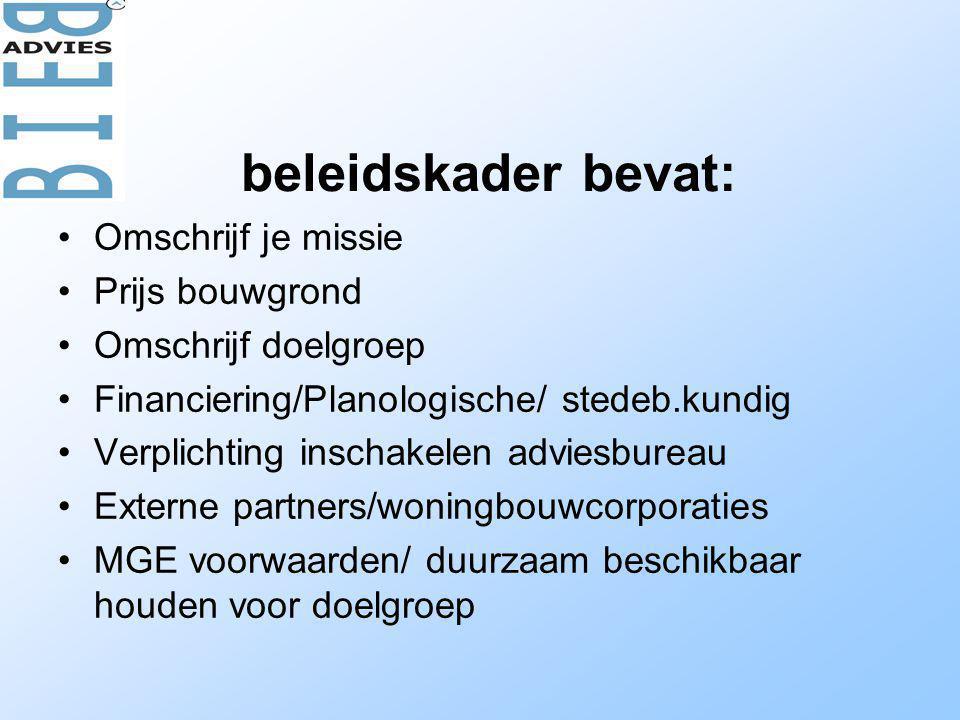 beleidskader bevat: Omschrijf je missie Prijs bouwgrond