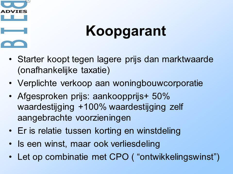 Koopgarant Starter koopt tegen lagere prijs dan marktwaarde (onafhankelijke taxatie) Verplichte verkoop aan woningbouwcorporatie.