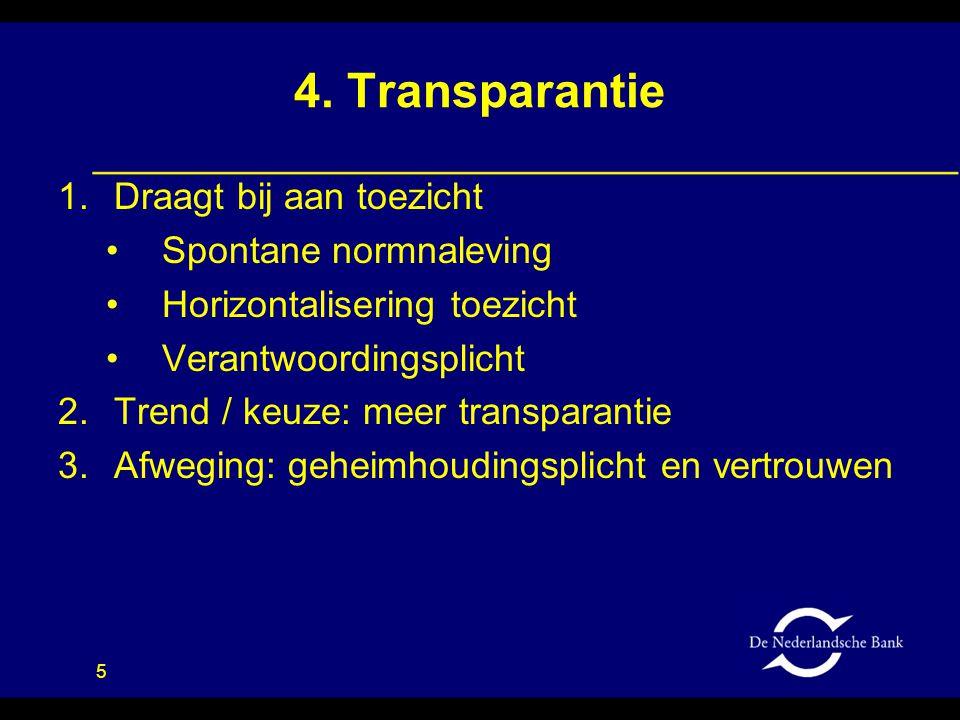 4. Transparantie Draagt bij aan toezicht Spontane normnaleving