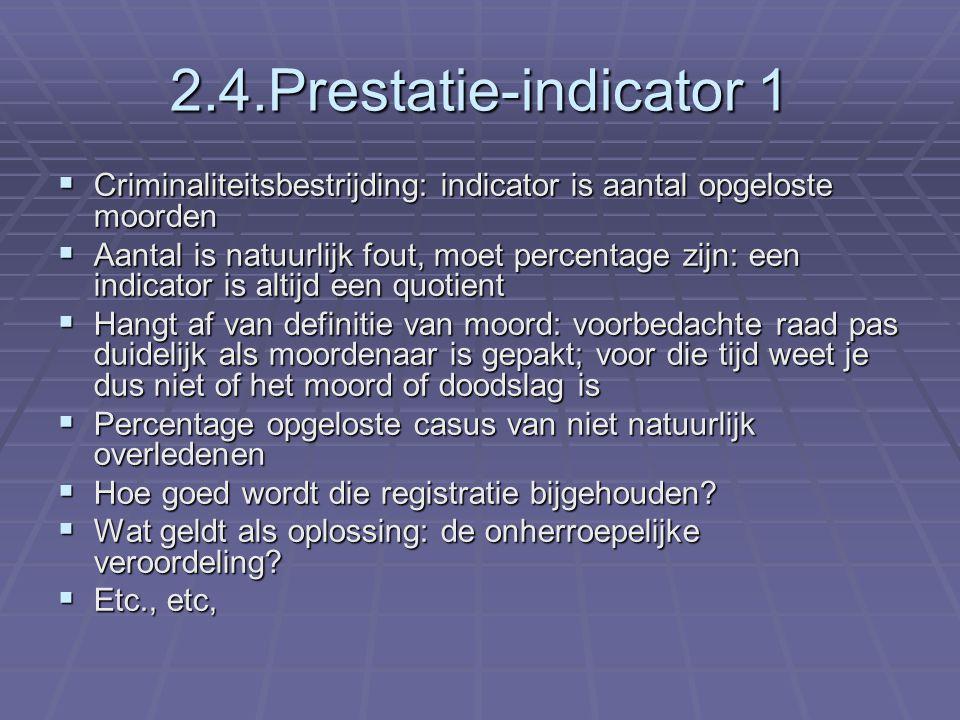 2.4.Prestatie-indicator 1 Criminaliteitsbestrijding: indicator is aantal opgeloste moorden.