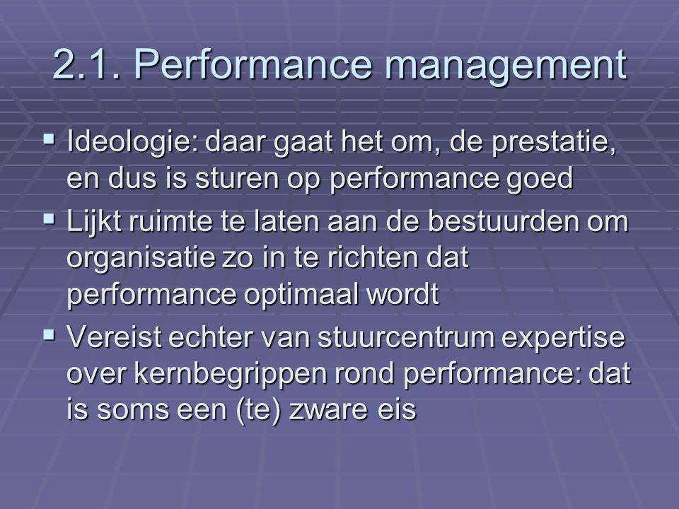 2.1. Performance management
