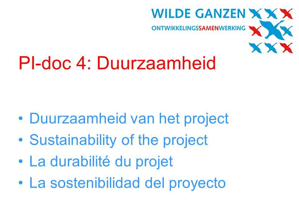 PI-doc 4: Duurzaamheid Duurzaamheid van het project