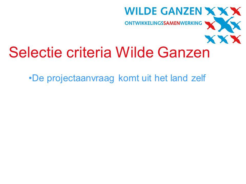 Selectie criteria Wilde Ganzen