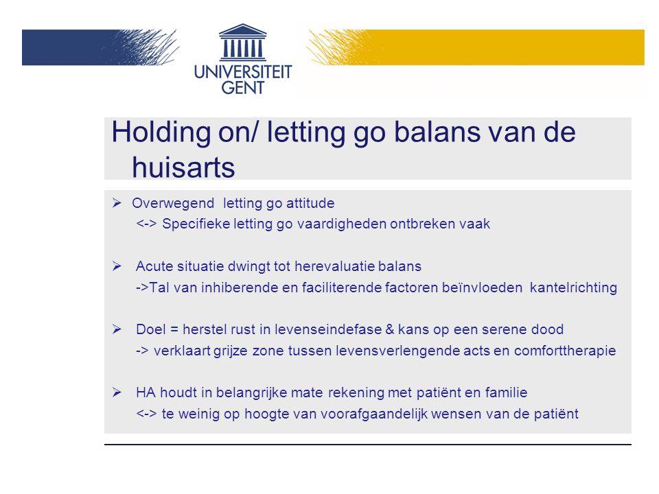 Holding on/ letting go balans van de huisarts