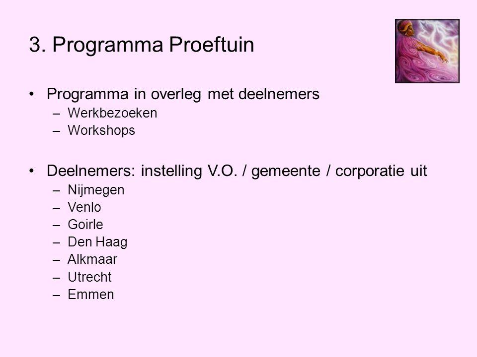 3. Programma Proeftuin Programma in overleg met deelnemers