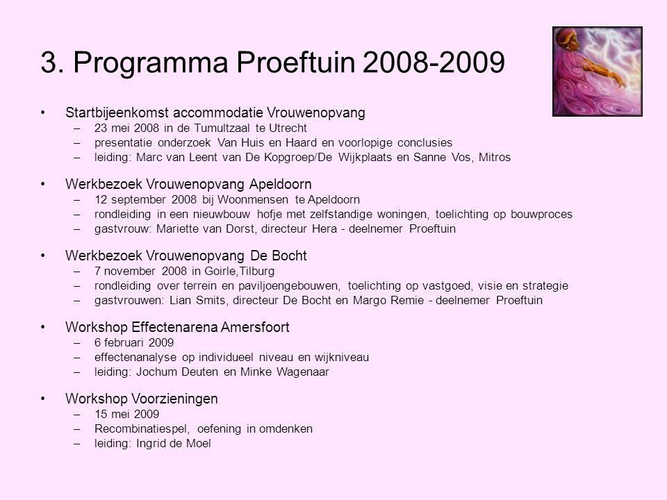 3. Programma Proeftuin 2008-2009 Startbijeenkomst accommodatie Vrouwenopvang. 23 mei 2008 in de Tumultzaal te Utrecht.