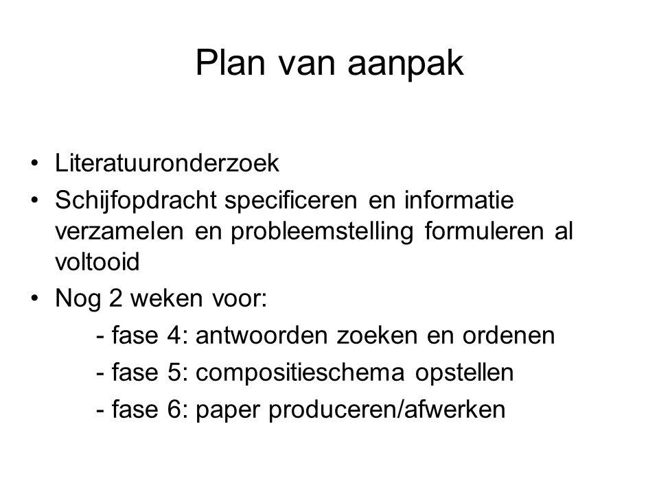 Plan van aanpak Literatuuronderzoek