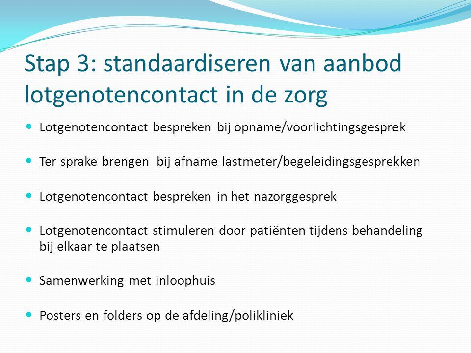 Stap 3: standaardiseren van aanbod lotgenotencontact in de zorg