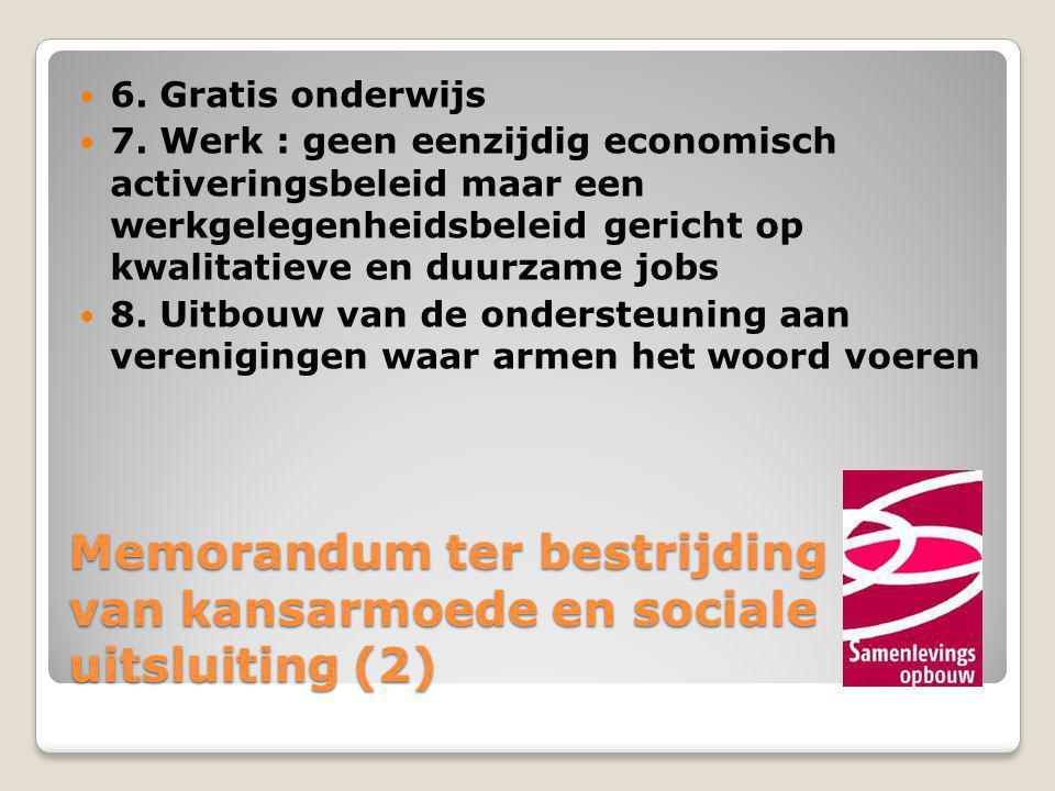 Memorandum ter bestrijding van kansarmoede en sociale uitsluiting (2)