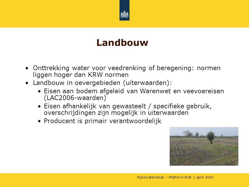 Landbouw Onttrekking water voor veedrenking of beregening: normen liggen hoger dan KRW normen. Landbouw in oevergebieden (uiterwaarden):