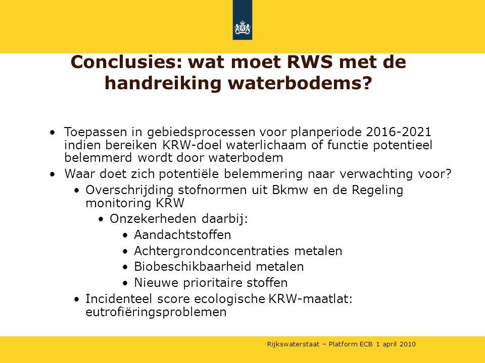 Conclusies: wat moet RWS met de handreiking waterbodems