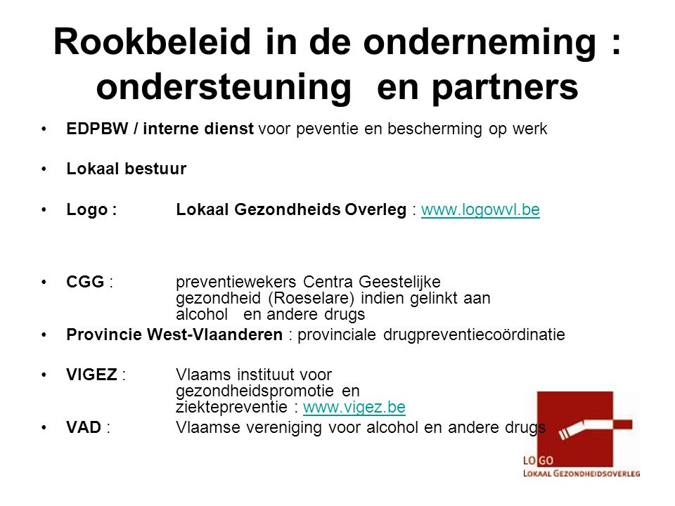 Rookbeleid in de onderneming : ondersteuning en partners