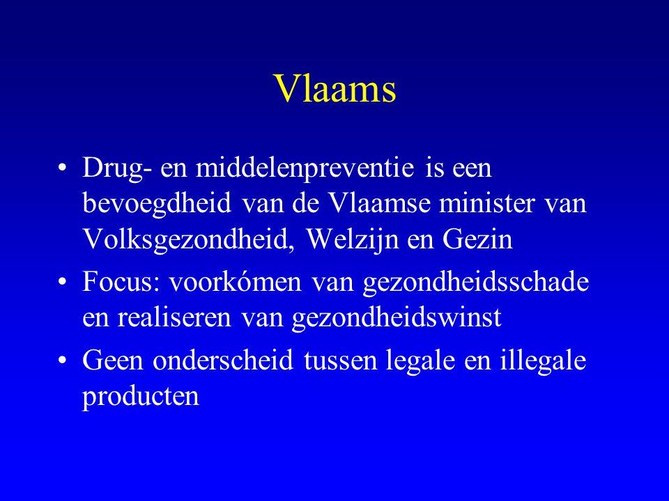 Vlaams Drug- en middelenpreventie is een bevoegdheid van de Vlaamse minister van Volksgezondheid, Welzijn en Gezin.