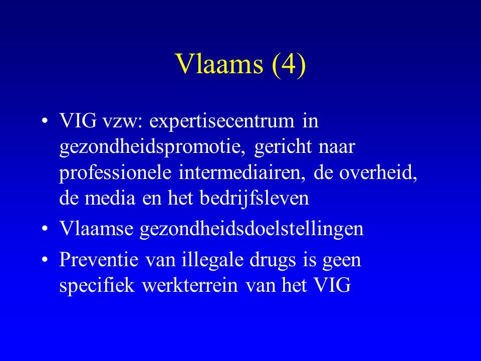 Vlaams (4) VIG vzw: expertisecentrum in gezondheidspromotie, gericht naar professionele intermediairen, de overheid, de media en het bedrijfsleven.