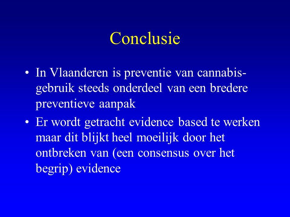Conclusie In Vlaanderen is preventie van cannabis- gebruik steeds onderdeel van een bredere preventieve aanpak.
