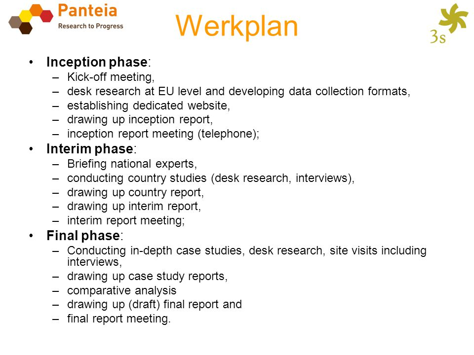 Werkplan Inception phase: Interim phase: Final phase:
