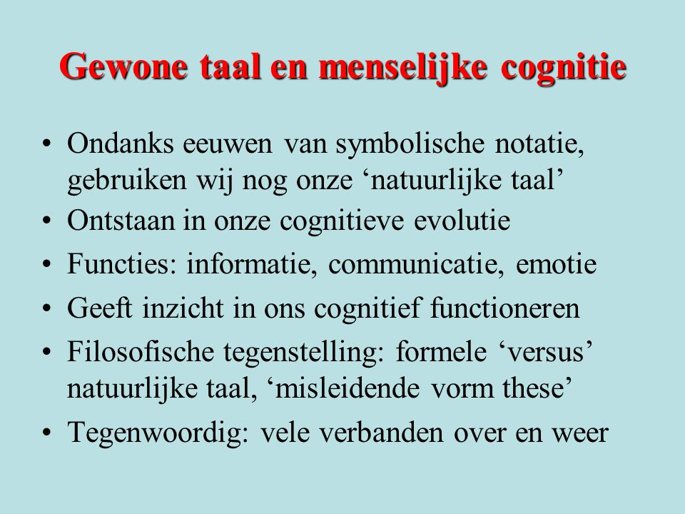 Gewone taal en menselijke cognitie