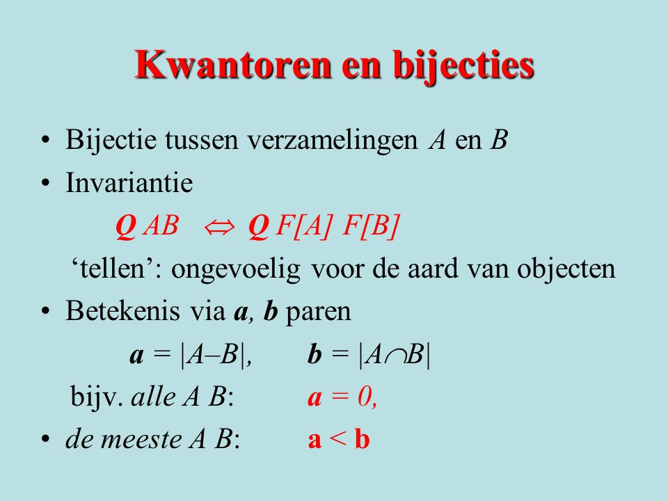 Kwantoren en bijecties