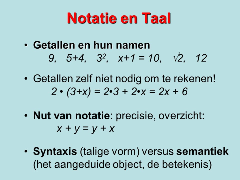 Notatie en Taal Getallen en hun namen 9, 5+4, 32, x+1 = 10, 2, 12