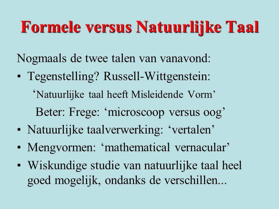 Formele versus Natuurlijke Taal