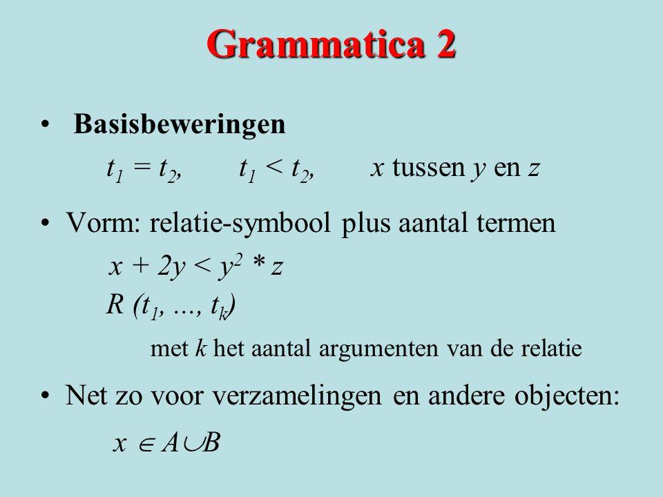 Grammatica 2 Basisbeweringen t1 = t2, t1 < t2, x tussen y en z