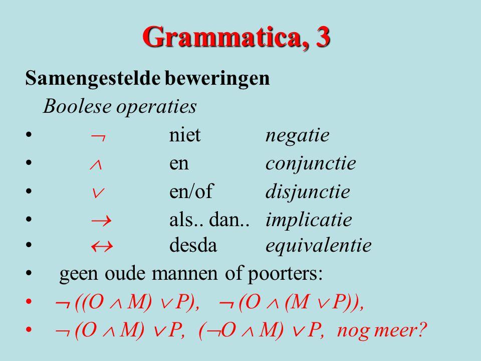 Grammatica, 3 Samengestelde beweringen Boolese operaties