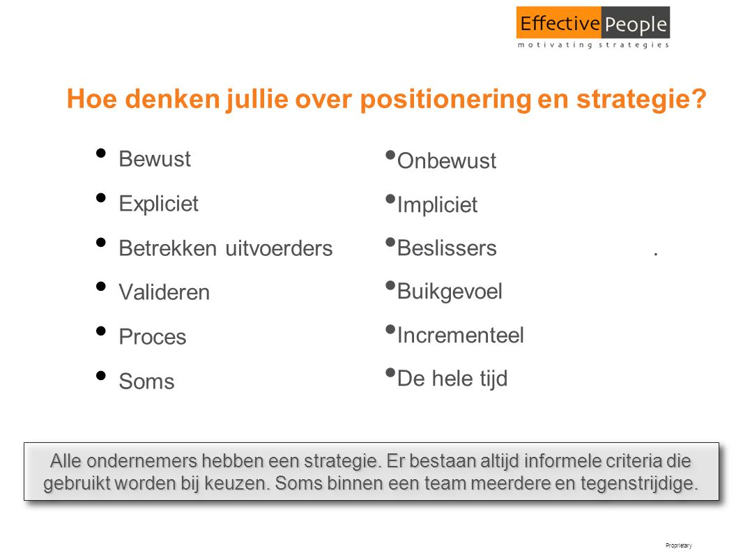 Hoe denken jullie over positionering en strategie