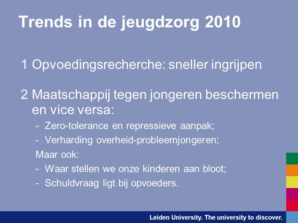 Trends in de jeugdzorg 2010 1 Opvoedingsrecherche: sneller ingrijpen