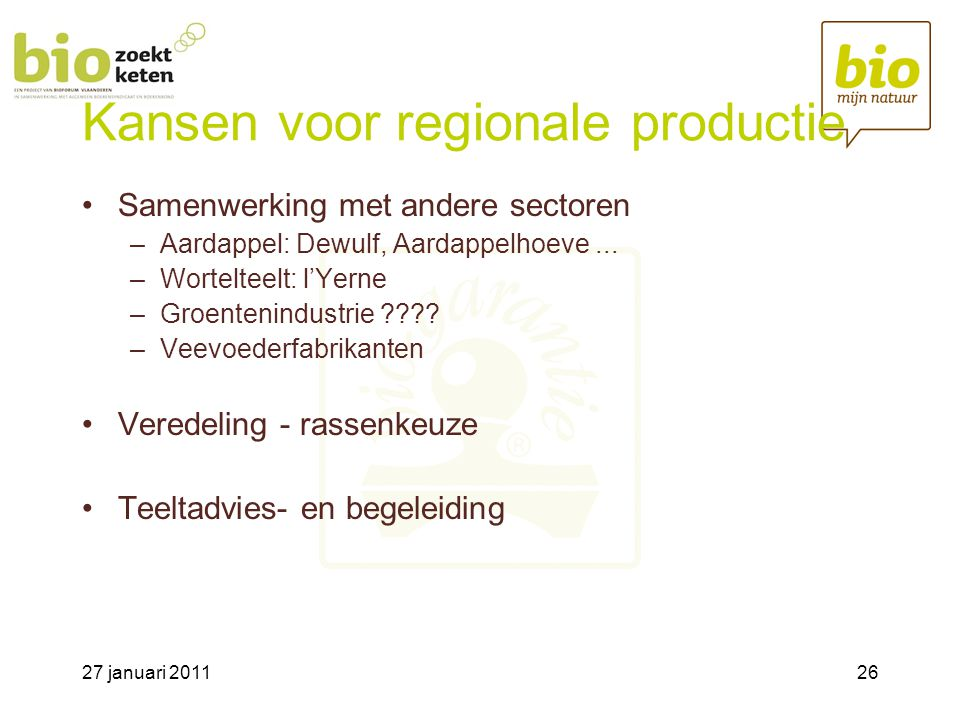 Kansen voor regionale productie