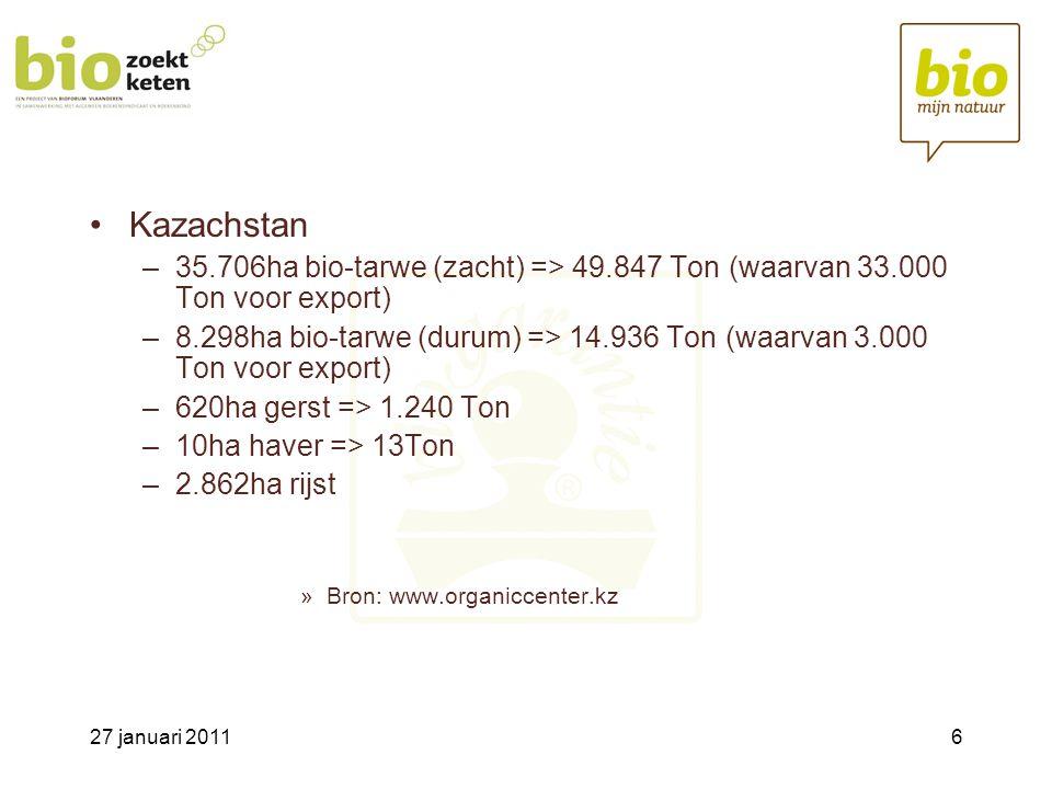 Kazachstan 35.706ha bio-tarwe (zacht) => 49.847 Ton (waarvan 33.000 Ton voor export)
