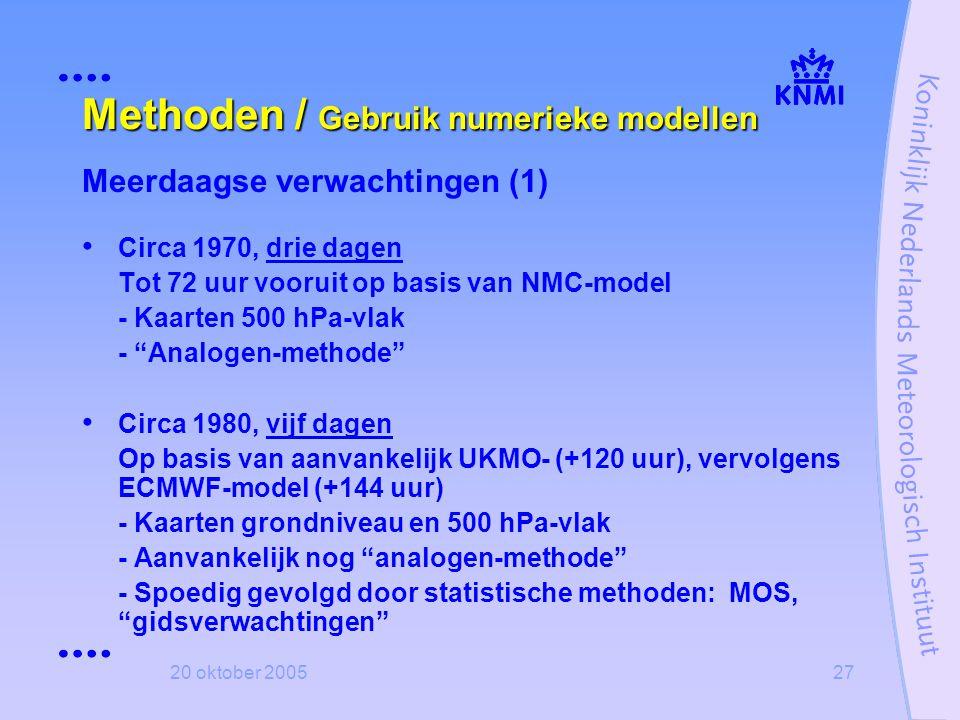 Methoden / Gebruik numerieke modellen