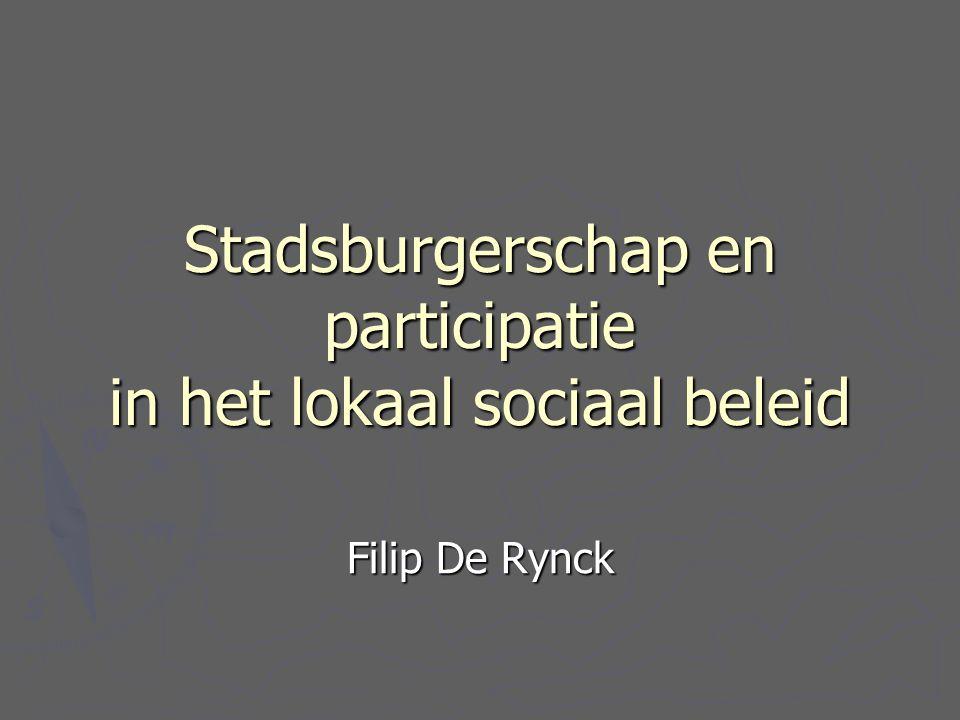 Stadsburgerschap en participatie in het lokaal sociaal beleid