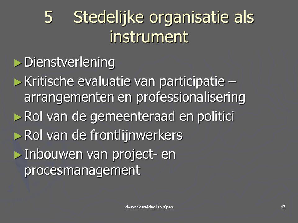 5 Stedelijke organisatie als instrument
