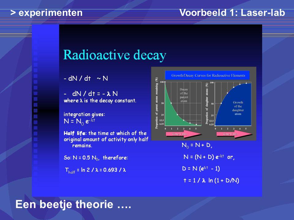 > experimenten Voorbeeld 1: Laser-lab Een beetje theorie ….