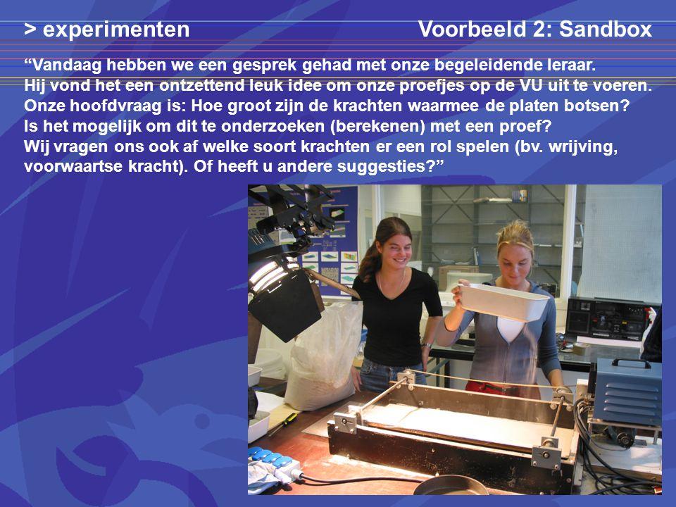 > experimenten Voorbeeld 2: Sandbox