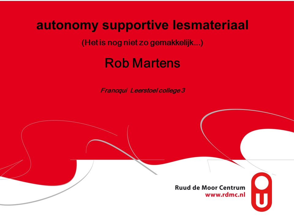 autonomy supportive lesmateriaal Rob Martens