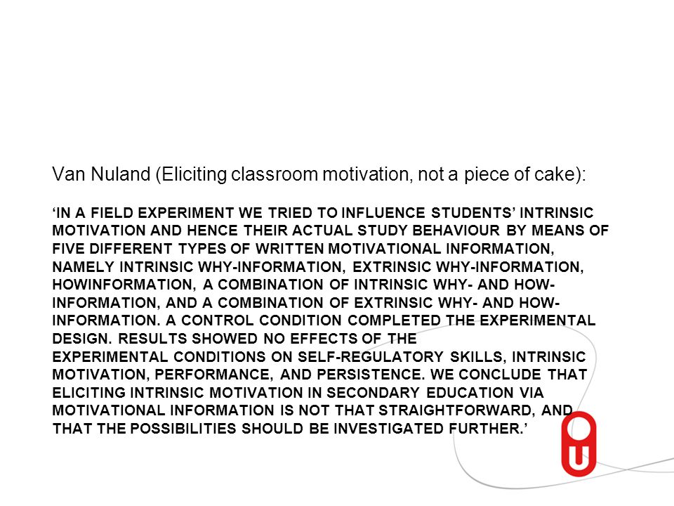 Van Nuland (Eliciting classroom motivation, not a piece of cake):
