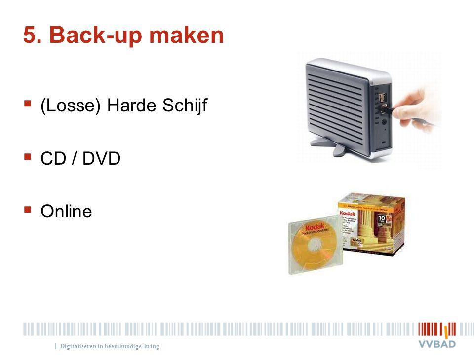 5. Back-up maken (Losse) Harde Schijf CD / DVD Online