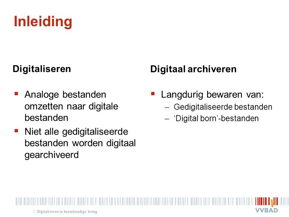 Inleiding Digitaliseren Digitaal archiveren