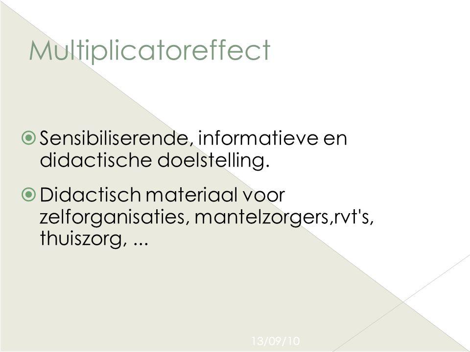 Multiplicatoreffect Sensibiliserende, informatieve en didactische doelstelling.