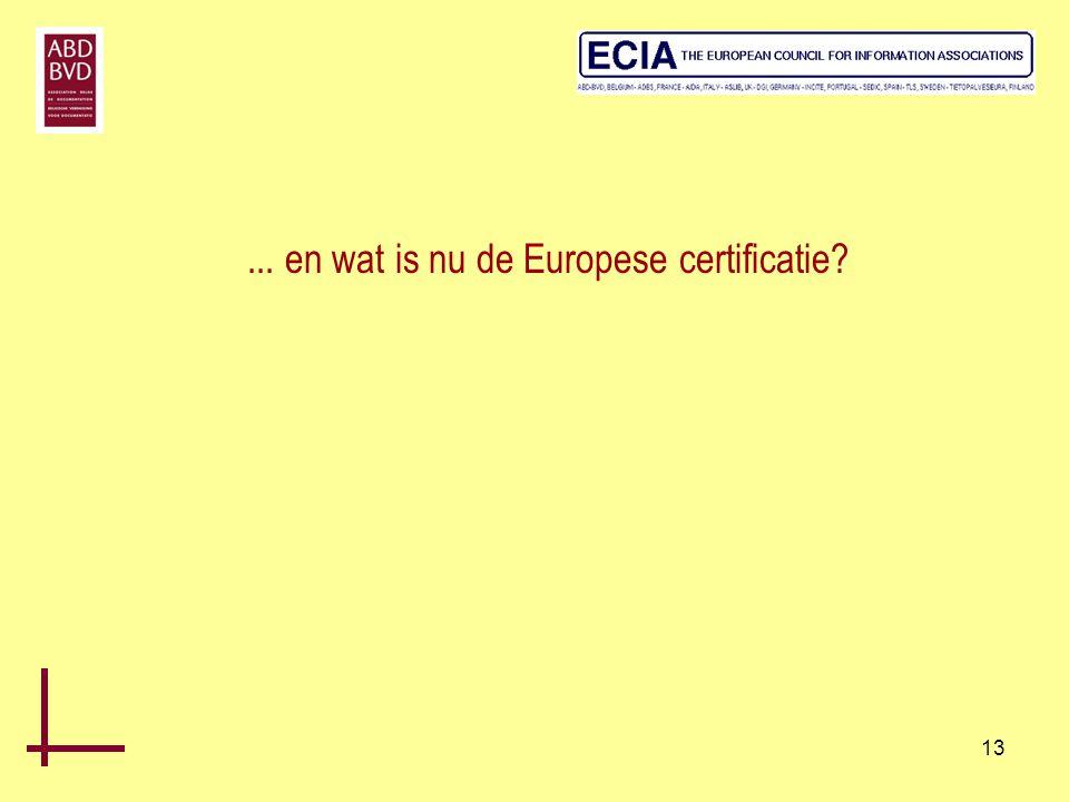 ... en wat is nu de Europese certificatie