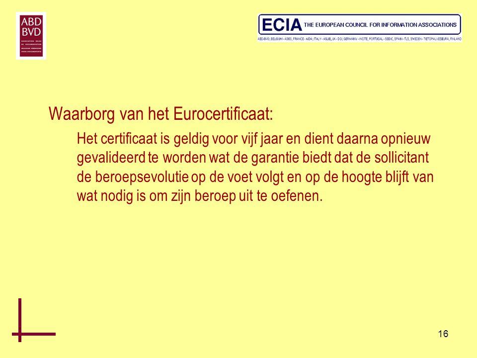 Waarborg van het Eurocertificaat: