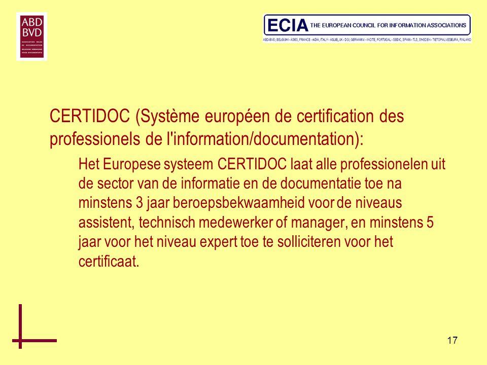 CERTIDOC (Système européen de certification des professionels de l information/documentation):