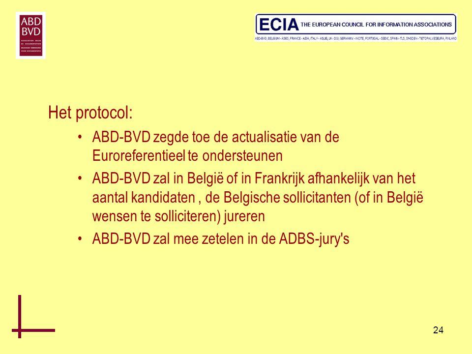 Het protocol: ABD-BVD zegde toe de actualisatie van de Euroreferentieel te ondersteunen.